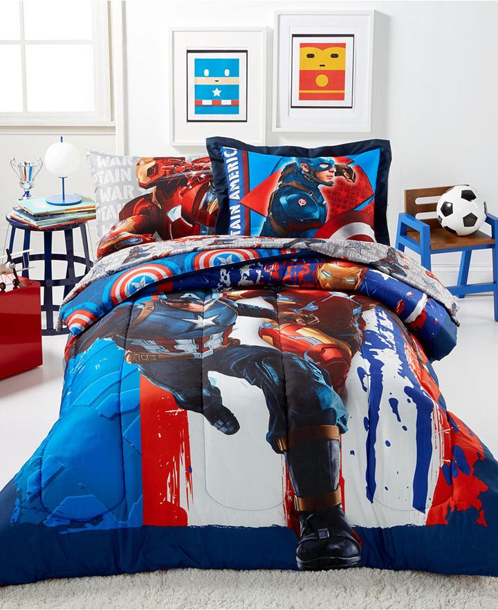 Marvelu0027s Captain America Civil War Twin 5 Pc. Comforter Set Bedding #aff