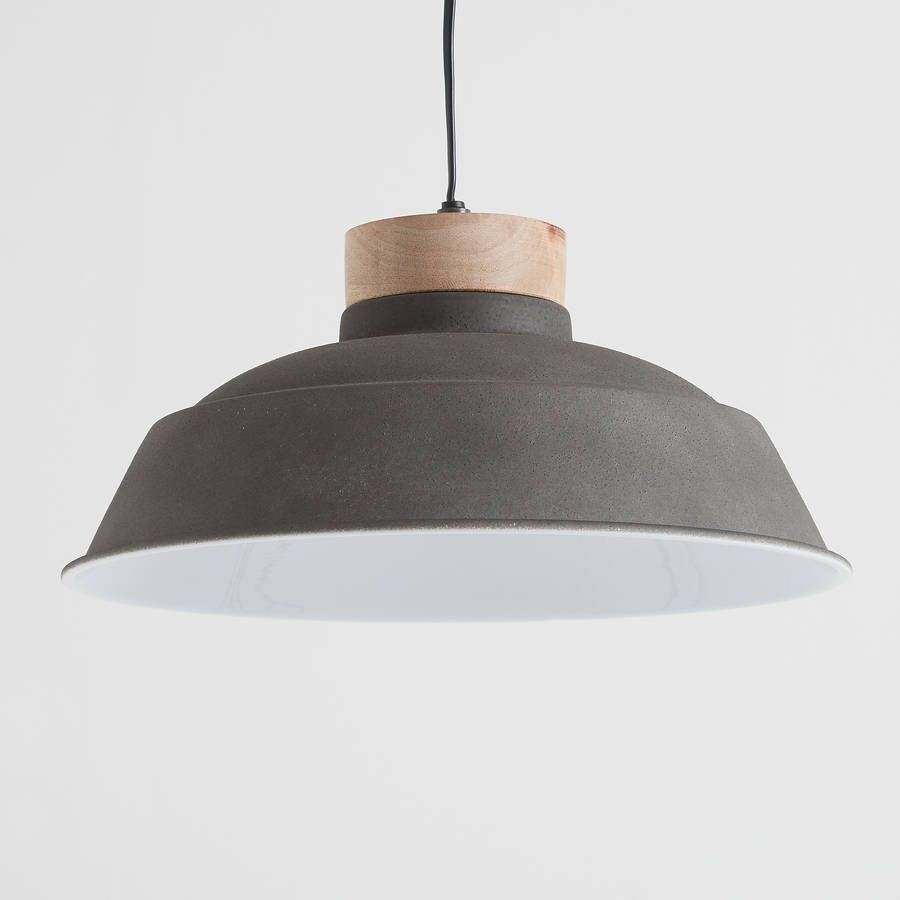Oslo cement grey and wood pendant light cement oslo and pendant