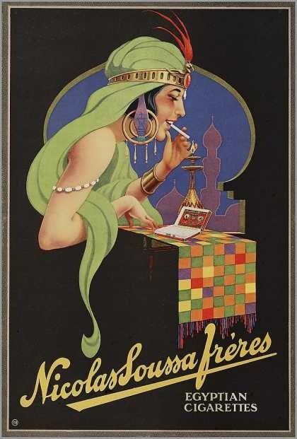 Nicolas Soussa Fréres. Egyptian cigarettes | Vintage tobacco advert. @deFharo