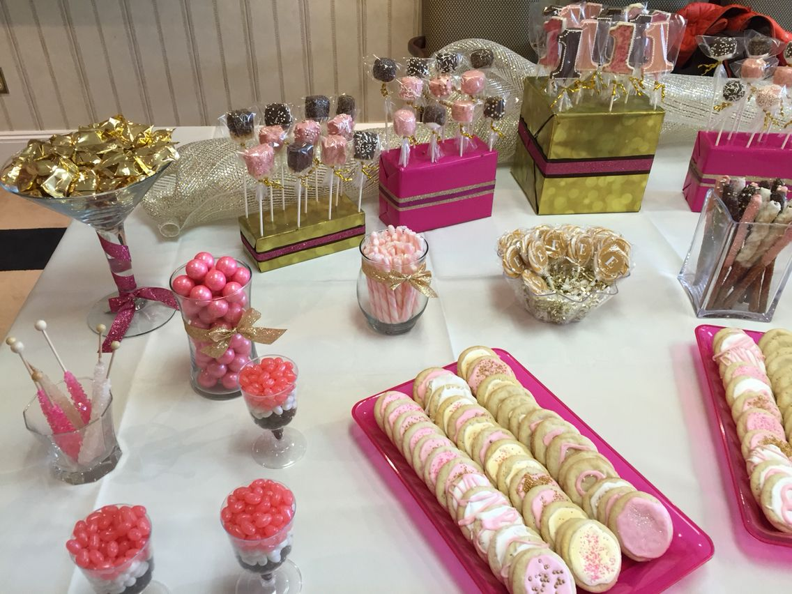 Gold wrapped butter mints; rock candy; sugar cookies; chocolate ...