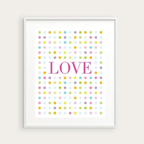 Love & Dots Wall Print by KellyBangsCreative on Etsy, $12.00