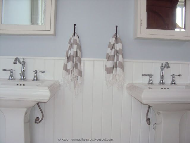 Pb Medicine Cabinets West Elm Guest Towels Double Kohler Memoir Sinks Wainscotting Glidden Quiet Rain Paint Color