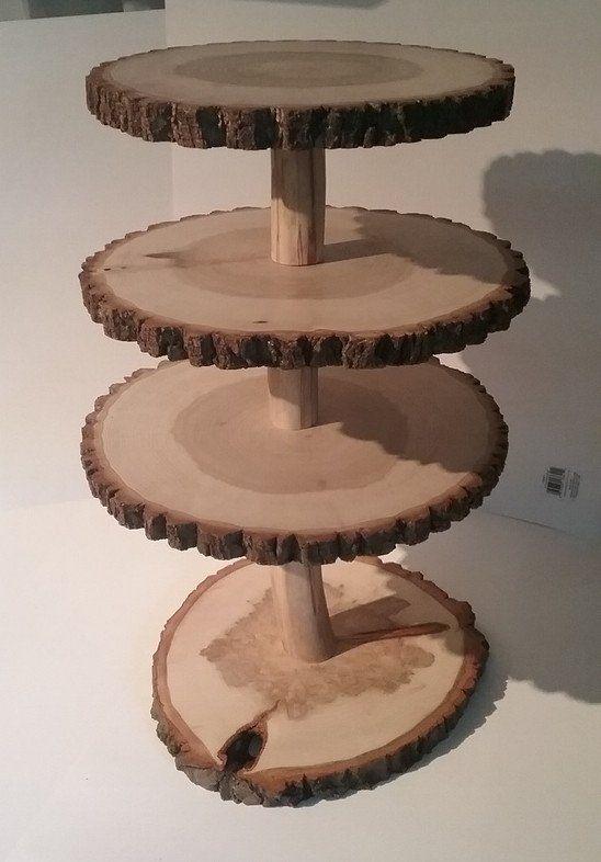 Rustic Cupcake Stand Wood Slab Cupcake Display Stand Treat
