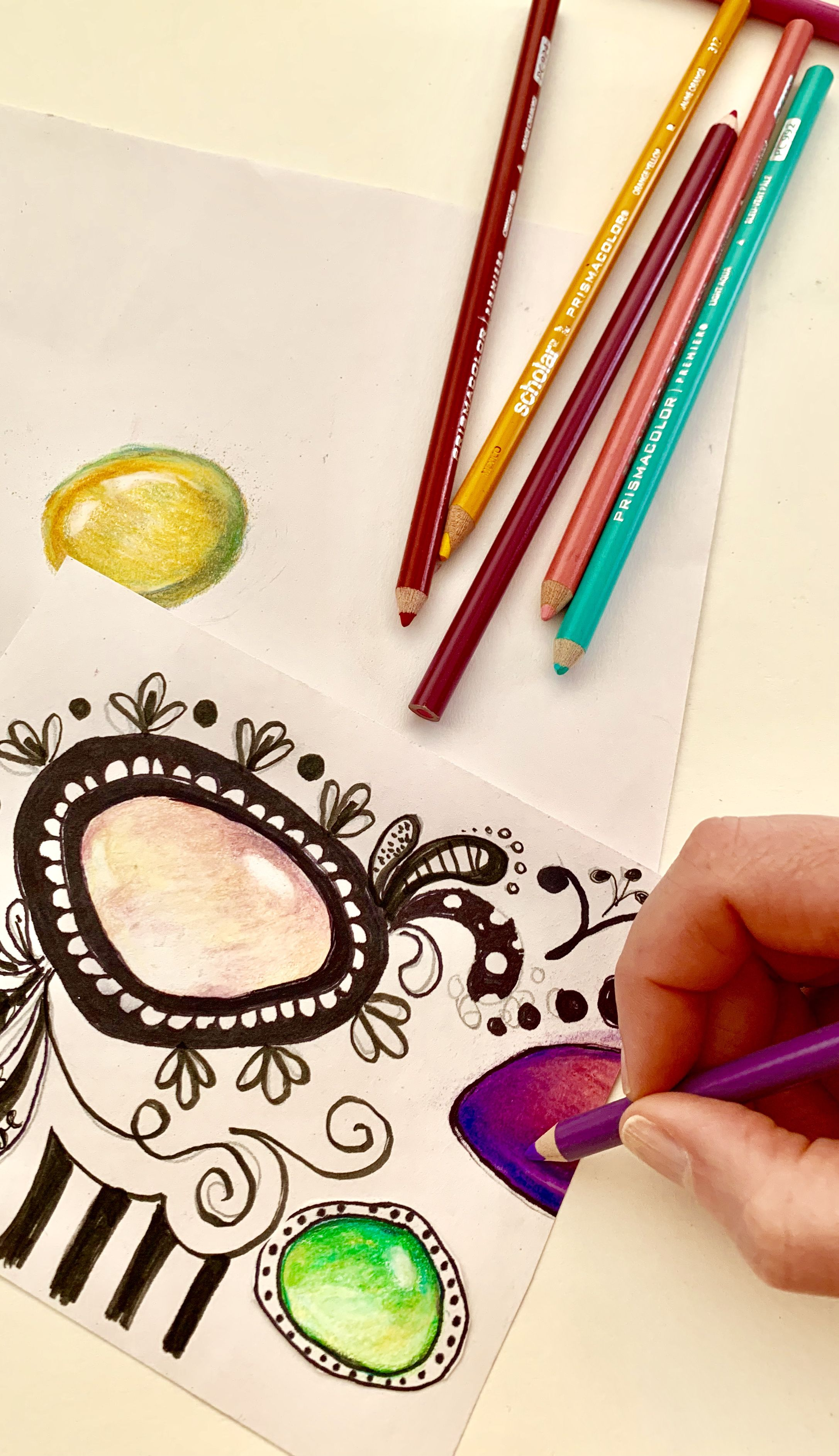 Art Lesson Bundle Crystal Colored Pencil And Zendoodle