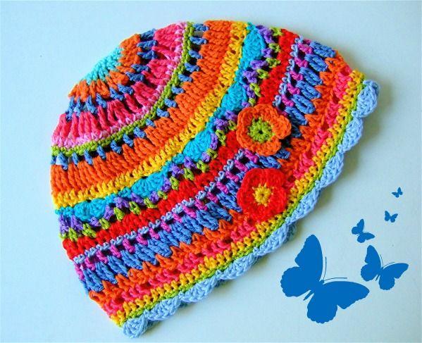 Super colourful crochet hat