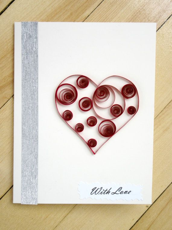 Paper Quilled Heart Card With Love Blank by MaritimeHandcrafts