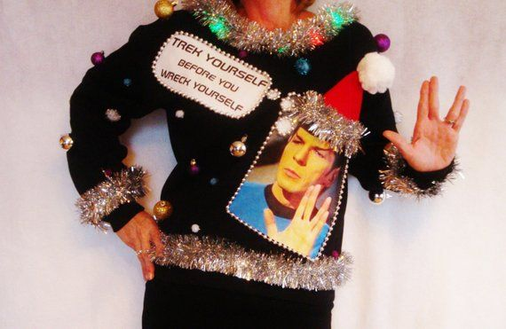 Ugly Christmas Sweater Star Trek Contest Winner Spock X Mas Trekkie