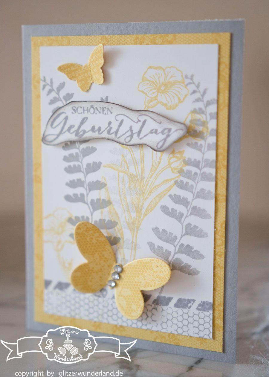 Stampin up Geburtstagskarte mit Stempelset Schmetterlingsgruß und I ...