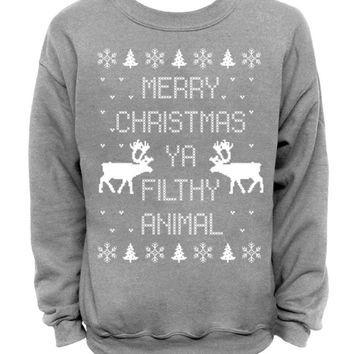 Home Merry Christmas Ya Filthy Animal Funny xmas sweater Black Men/'s T-Shirt