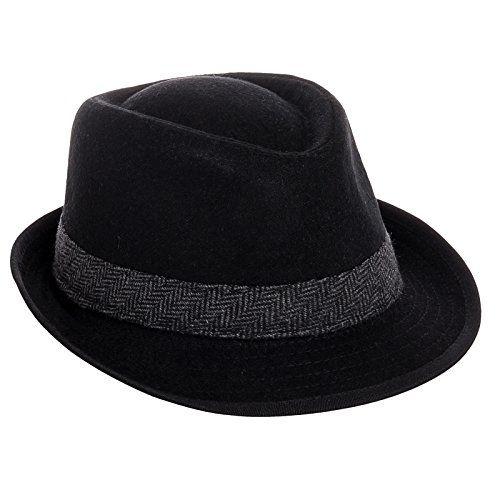 a1d0b77bd810ba Dorfman Pacific Mens Wool Blend Fedora Hat with Herringbone Band,X-Large /  23 1/2-24 Inches,Black $22
