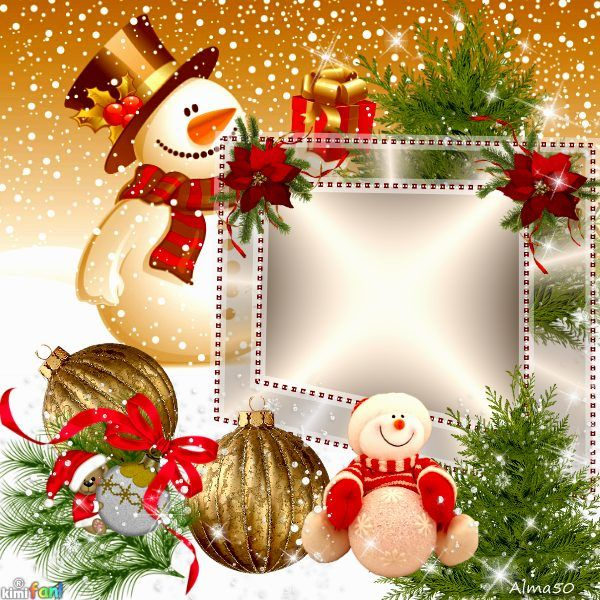 Christmas Is Here.Christmas Is Here Snowmen Christmas Card Frame Click To