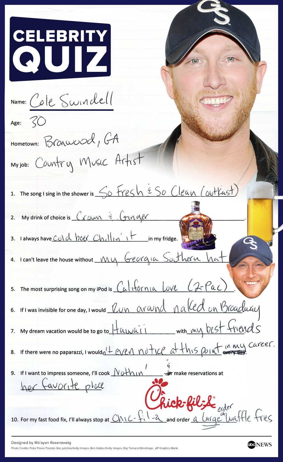 Cole Swindell Tackles The Abc News Quiz In His Handwriting Cole Swindell Country Music Artists Cole