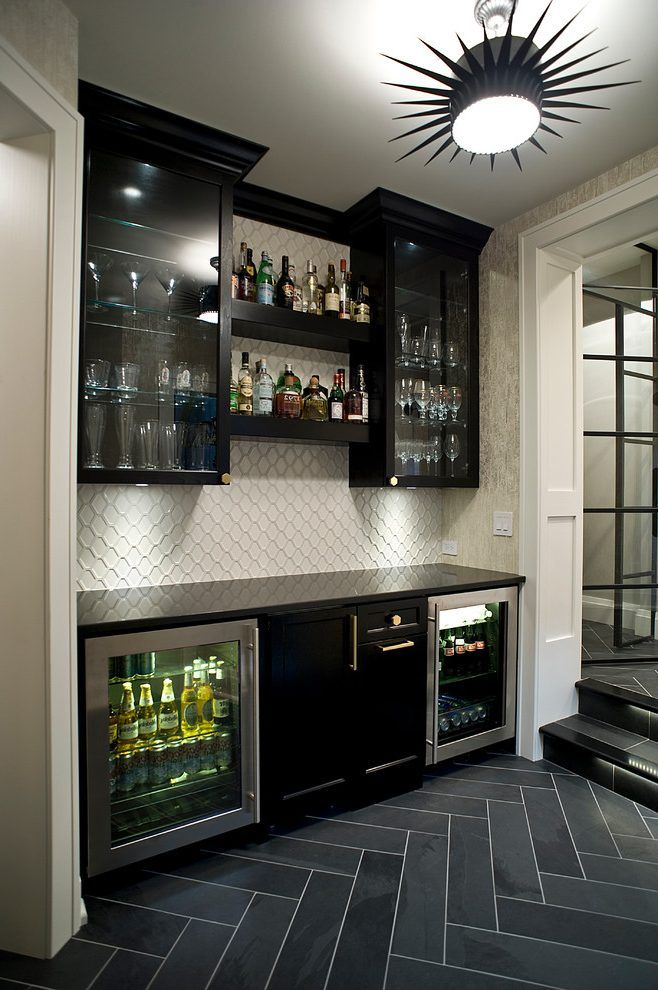 family room bar designs home bar transitional with built in wine cooler snack bar open shelf. Black Bedroom Furniture Sets. Home Design Ideas