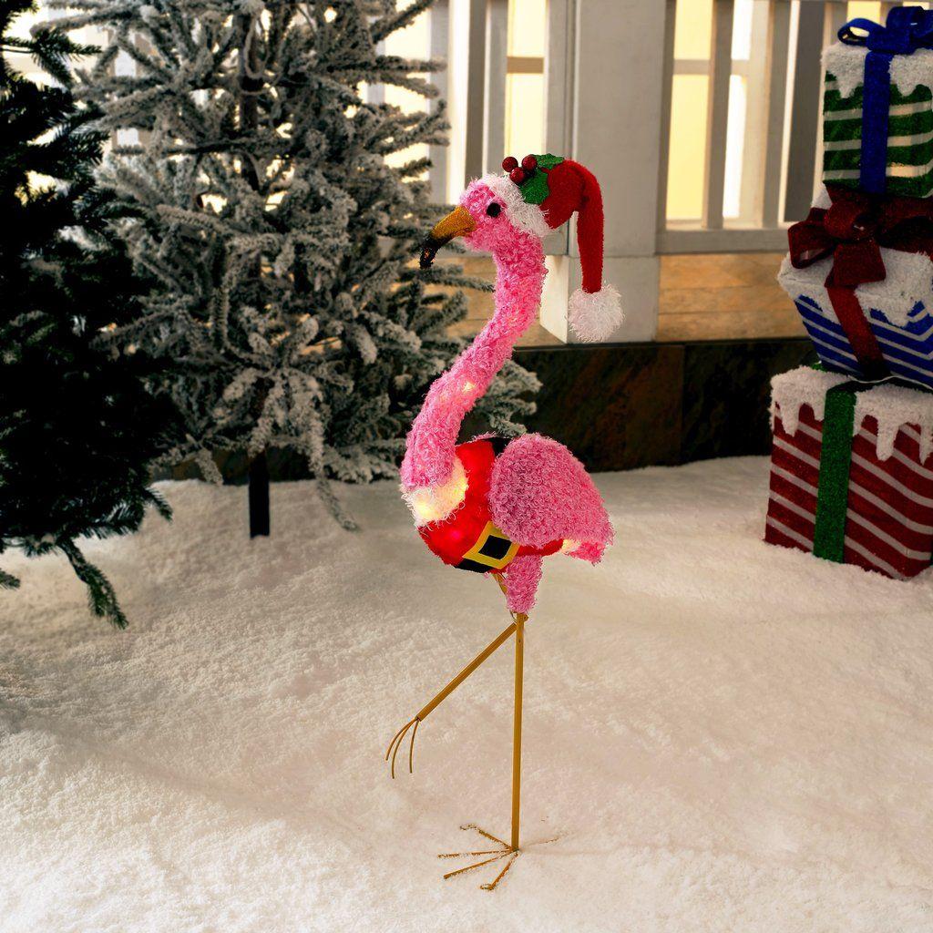 Christmas Flamingo Outdoor Decor Light Up Fluffy Pink