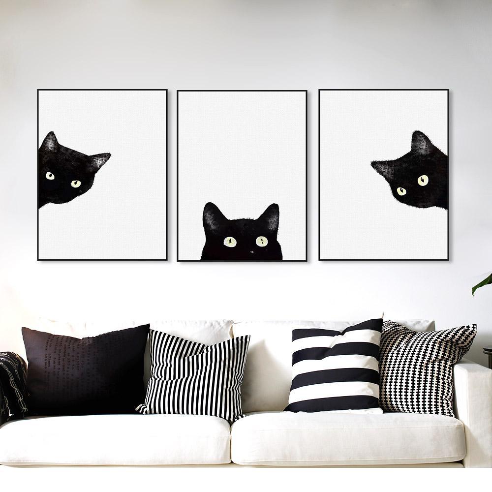 Minimalist kawaii black cats head canvas set home pinterest