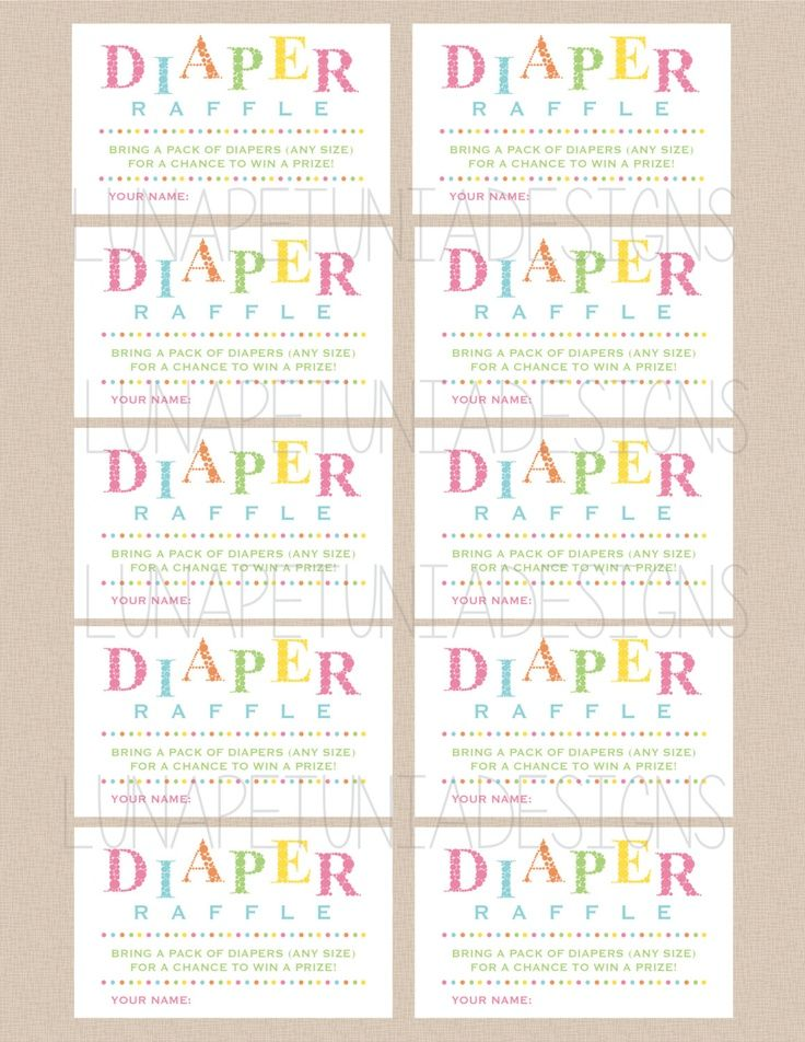 Free Printable Diaper Raffle Ticket Template In 2019 Baby
