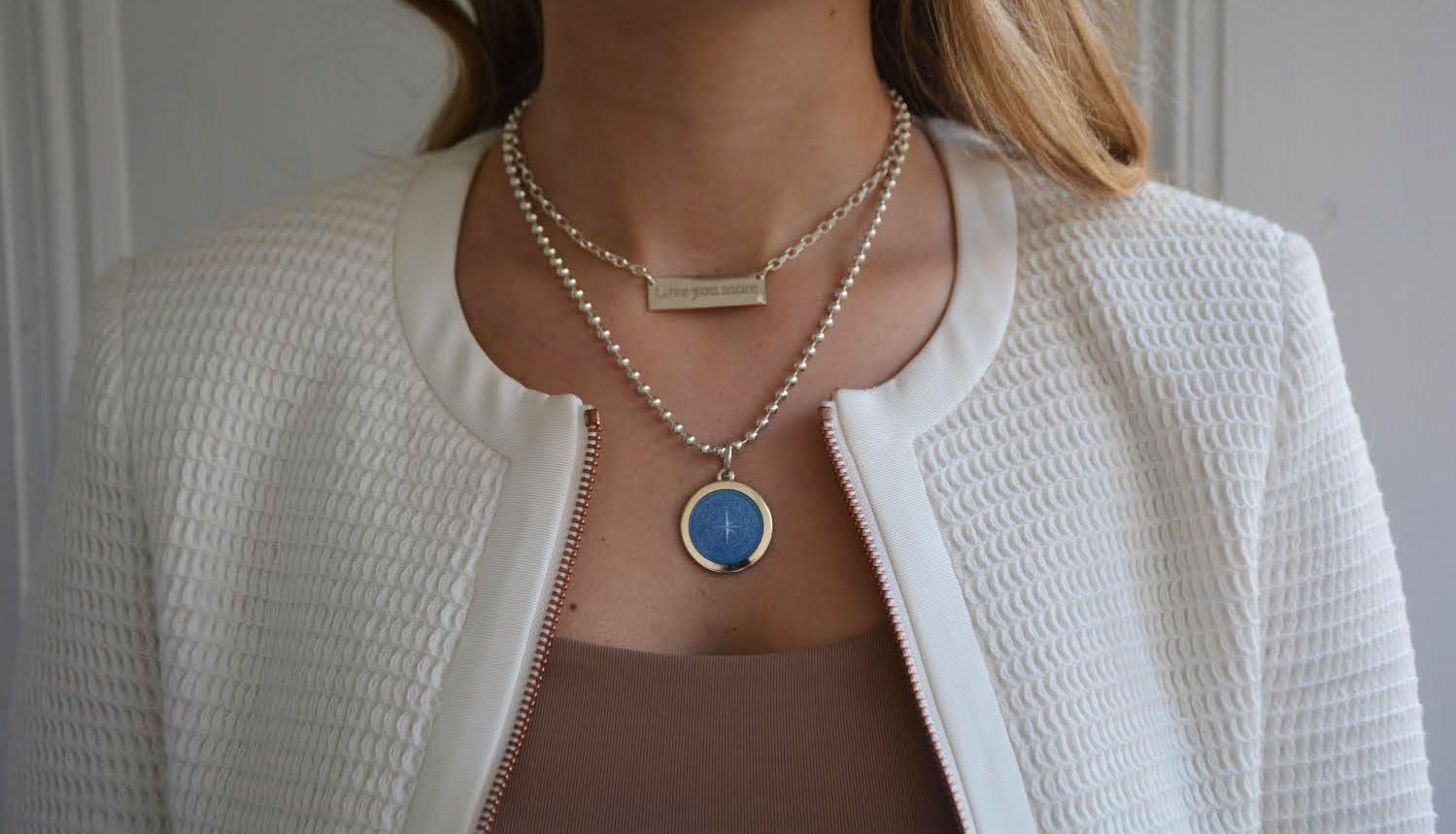 Love You More Bar Necklace With Medium French Blue Compass Rose Blue Compass Necklace Bar Necklace