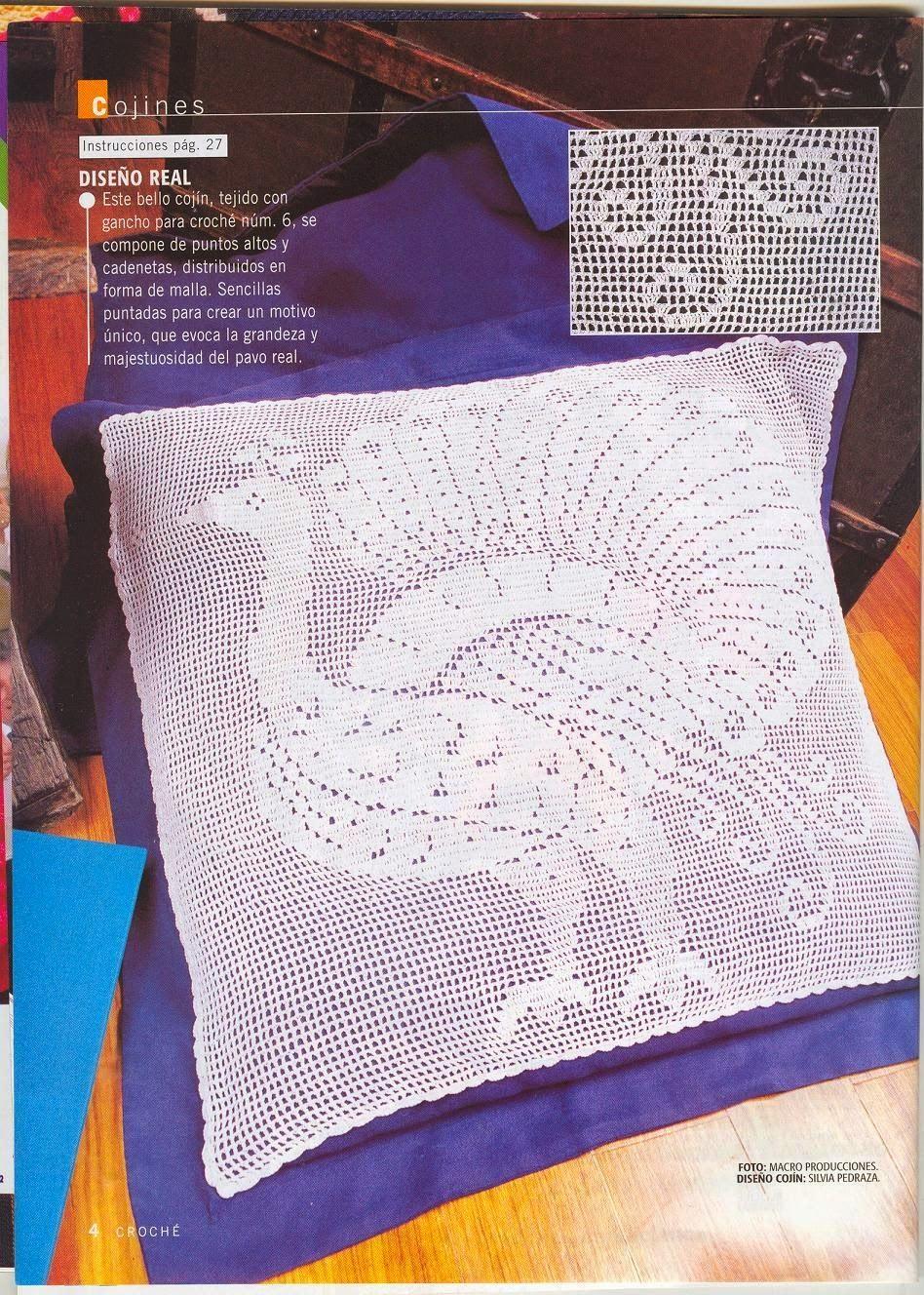 Grace y todo en Crochet: COJIN DE PAVO REAL. PEACOCK CUSHION ...
