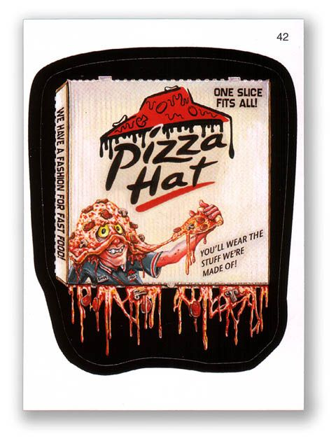 Wacky Packages Topps 6th Series 2007 Sticker Pizza Hat 42 Wacky Bubble Gum Cards Funny Ads