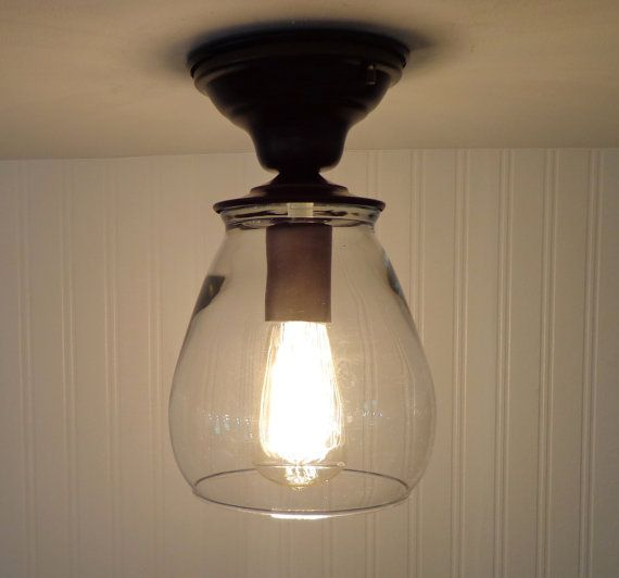 Verona. Flush Mount Glass CEILING LIGHT with Edison Bulb - Lighting ...