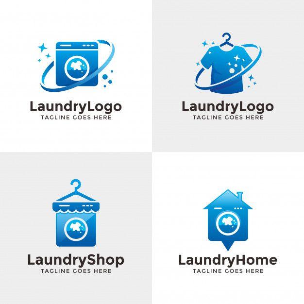 Set Of Laundry Logo Desain Desain Grafis Grafis