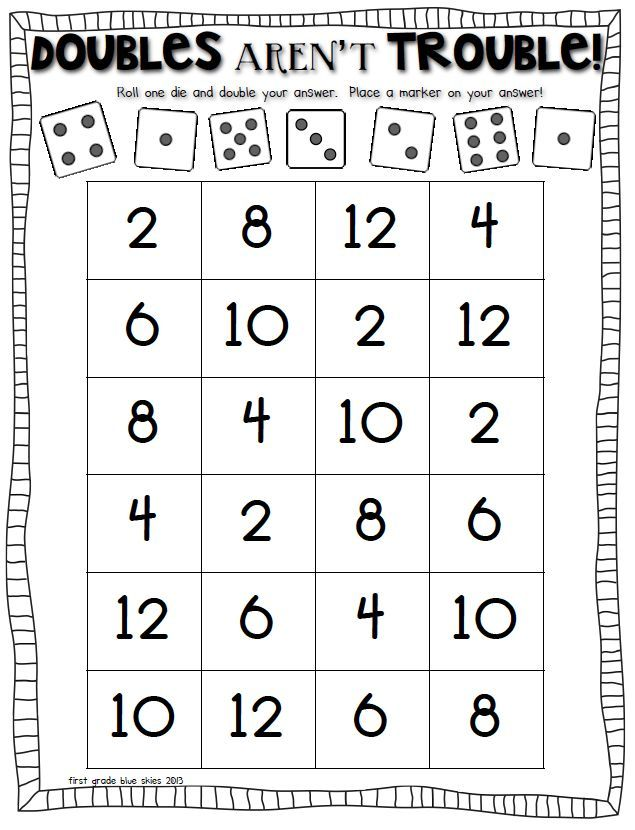Double Trouble Math Game To Practice Doubles Facts Math For First