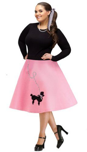 FunWorld Plus-Size Poodle Skirt, Pink/Black, 16W-24W Costume Fun - black skirt halloween costume ideas
