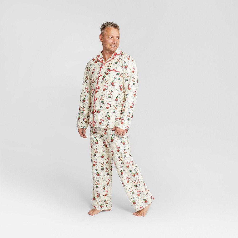 155e94fdf10f Nite Nite Munki Munki Men s Holiday Llama Notch Collar Pajama Set ...