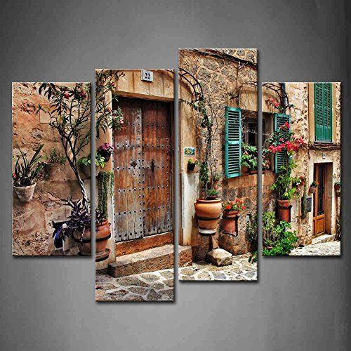 4 Panel Wall Art Streets Of Old Mediterranean Towns Flower Door Windows Painting The Picture Print On Canvas A Window Painting Wall Art Painting Panel Wall Art
