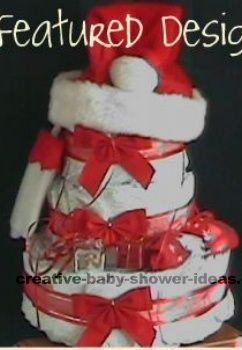 Santa Baby And Hat Christmas Diaper Cake