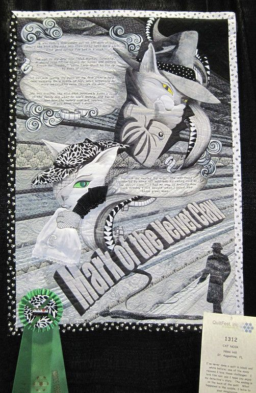 """Cat Noir"", made in 2014 for the black and white challenge at Quiltfest Jacksonville.  I do love story quilts, and I had a lot of fun writing the detective monologue to go with my characters which concludes on the back of the quilt."