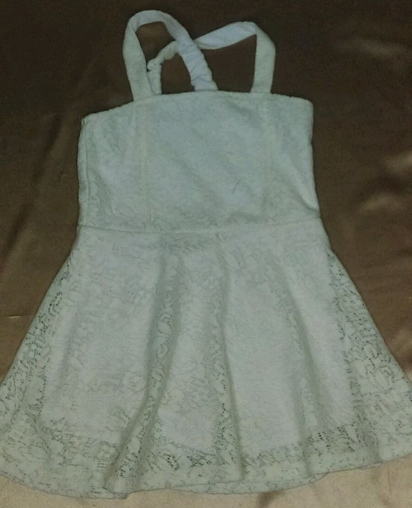 White Girls Lace Spaghetti Strap Dress With Shorts Underneath 4t