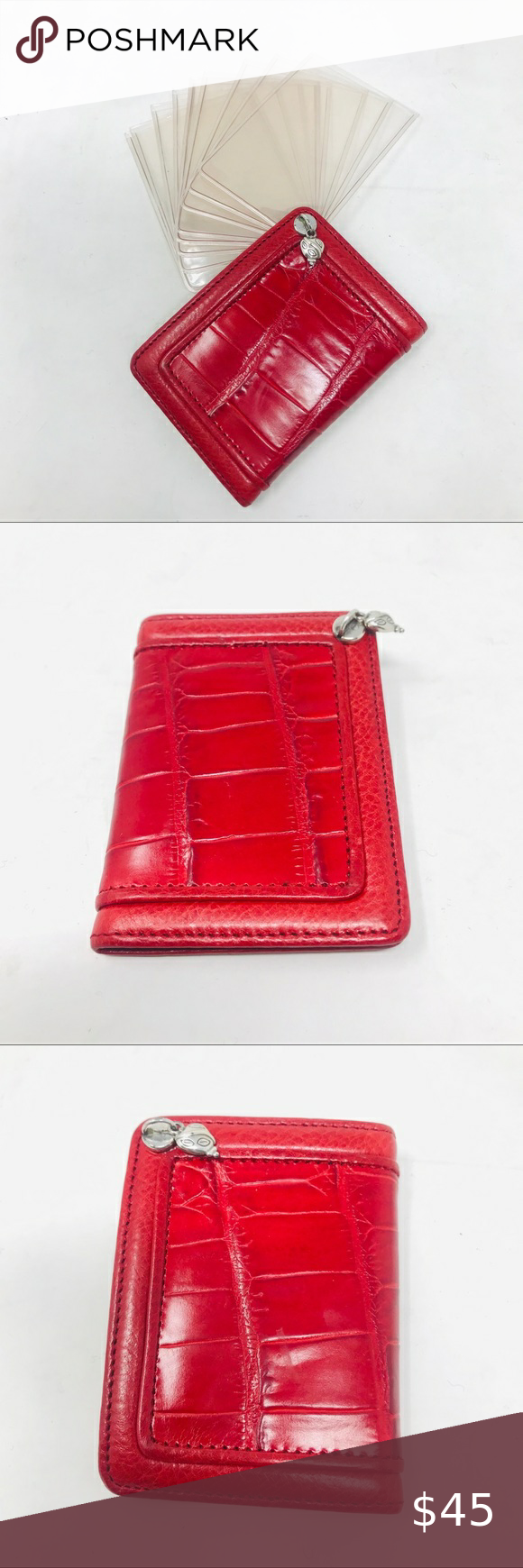 Brighton Red Leather Credit Card / ID Holder Brigh