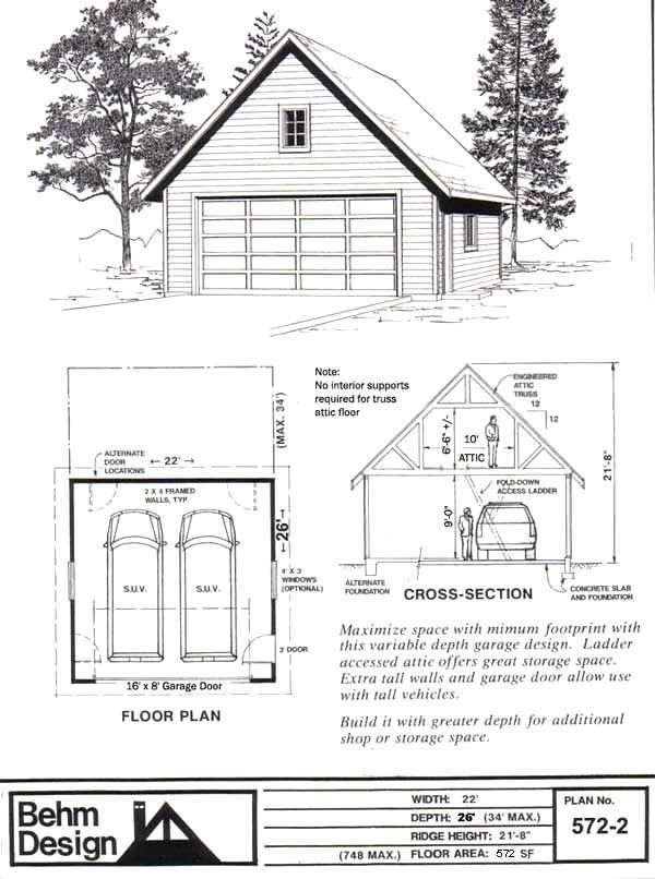 84 lumber pre fab garage 9351 behm design garage plan 572 2 - 84 Lumber Roof Trusses