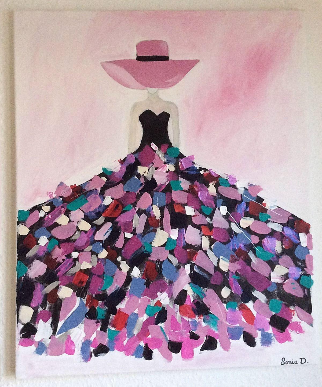 Tableau moderne femme tableau femme abstrait tableau robe color e dimension 61x50 l rred - Modele peinture acrylique debutant ...