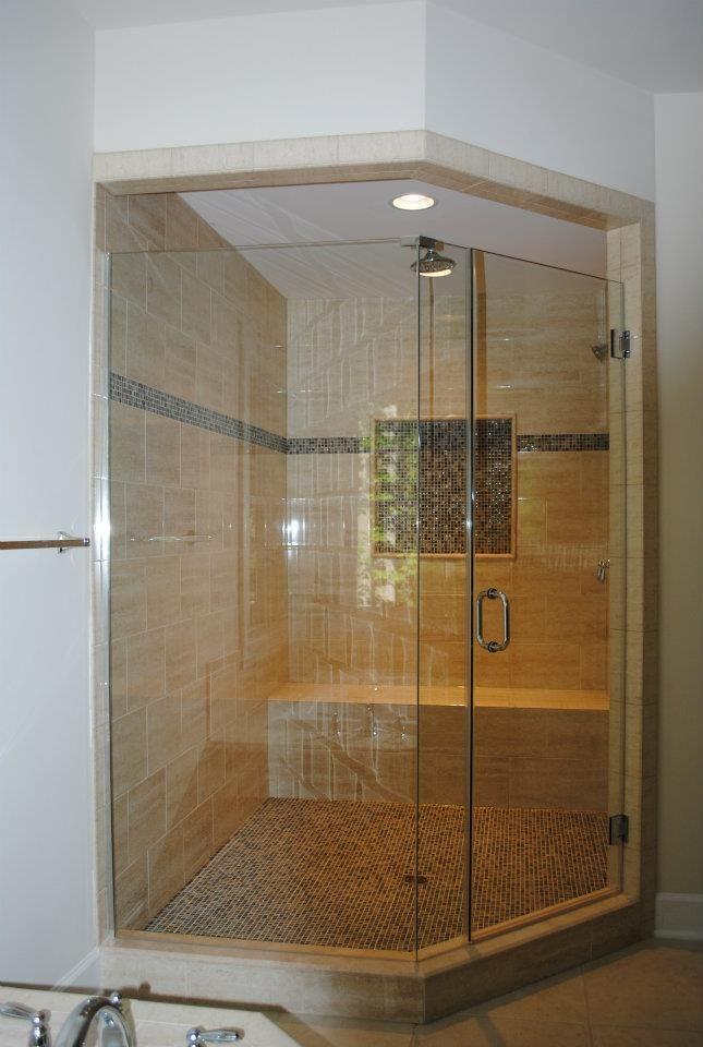 Custom Shower With No Frame Shower Door Custom Tile Shower With