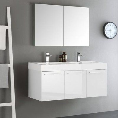 Fresca Senza 48 Vista Double Wall Mounted Modern Bathroom Vanity