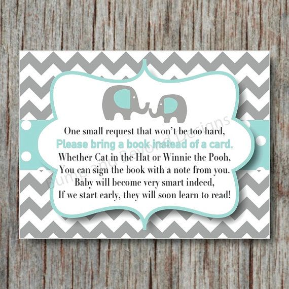Elephant Book Instead Of Card Request Insert INSTANT DOWNLOAD Light Teal  Grey Digital Book Request Insert Card Baby Shower Chevron DIY   004