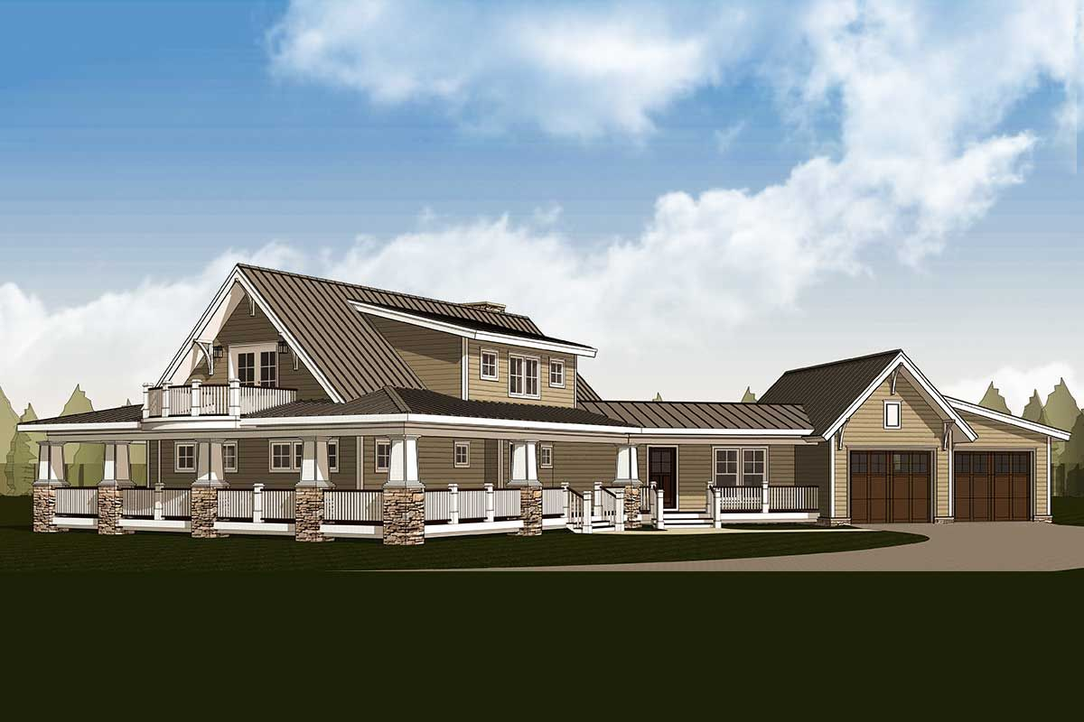 Plan 18286be Country Home With Wraparound Porch And 2 Balconies Porch House Plans Country House Plans One Level House Plans