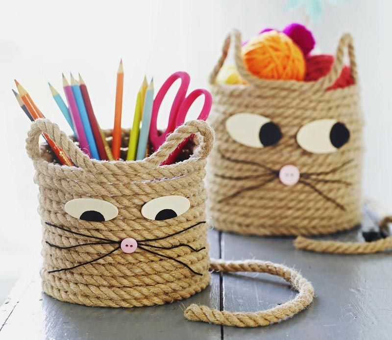 Easy craft for kids cat storage baskets storage for Gifts and crafts for adults