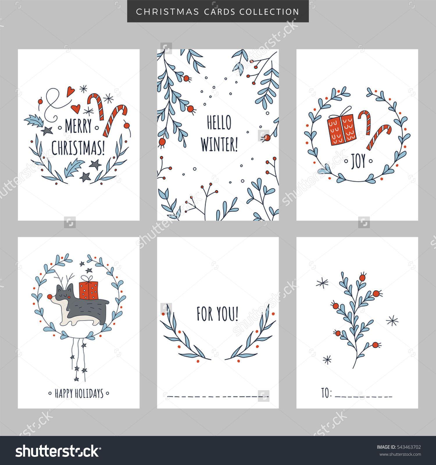 Set Christmas New Year Holiday Greeting Stock Vector (Royalty Free) 543463702