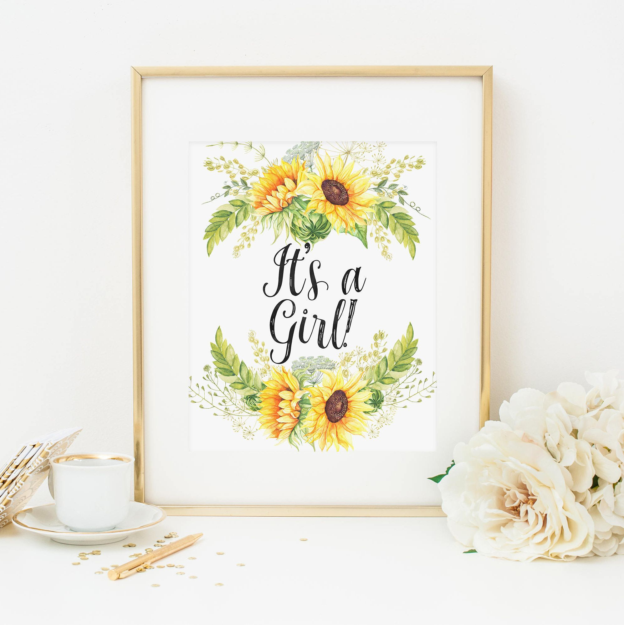 Rustic Sunflower It s A Girl Baby Shower Printable Country Floral