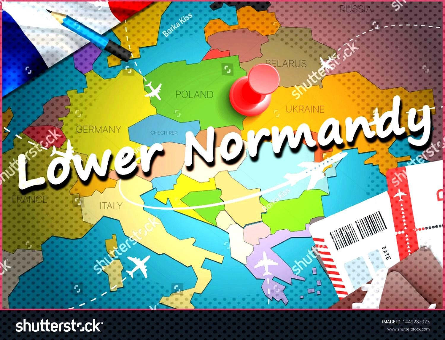 Lower Normandy city travel and tourism destination concept. France flag and Lower Normandy city on