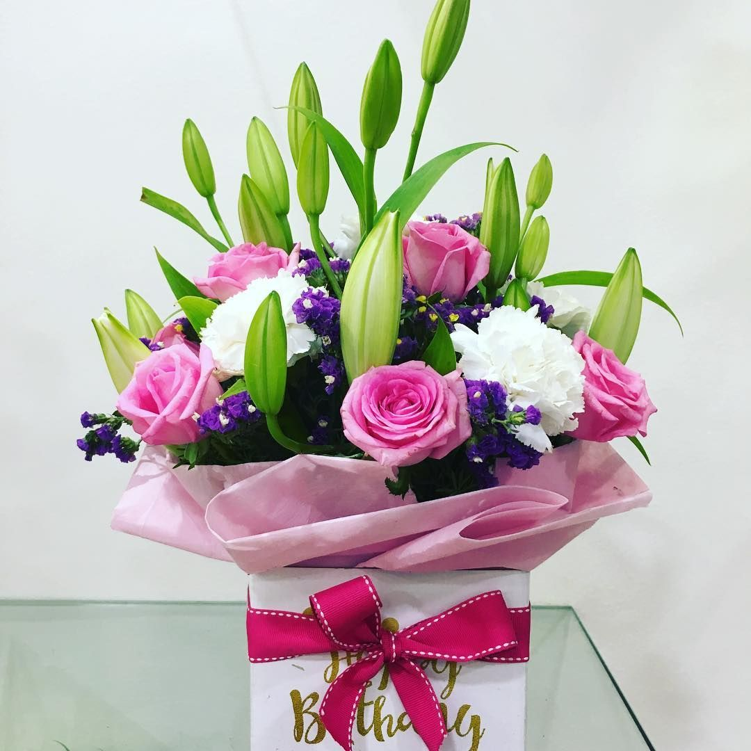Get our new happy birthday box arrangement made with gorgeous get our new happy birthday box arrangement made with gorgeous flowers like oriental lilies carnations izmirmasajfo