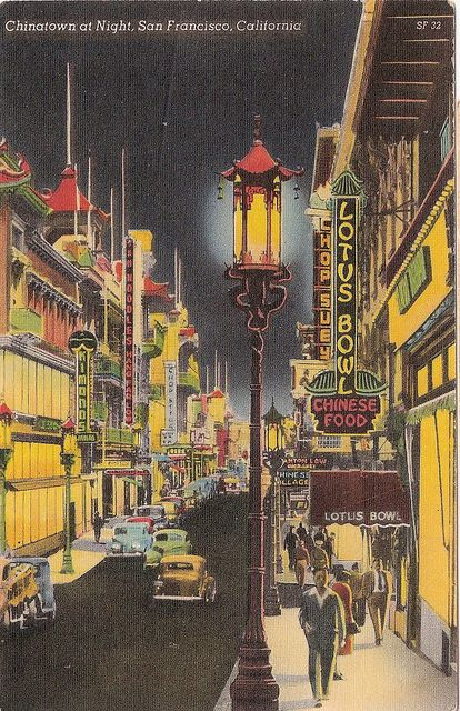 *Vintage Chinatown at Night San Francisco CA Postcard