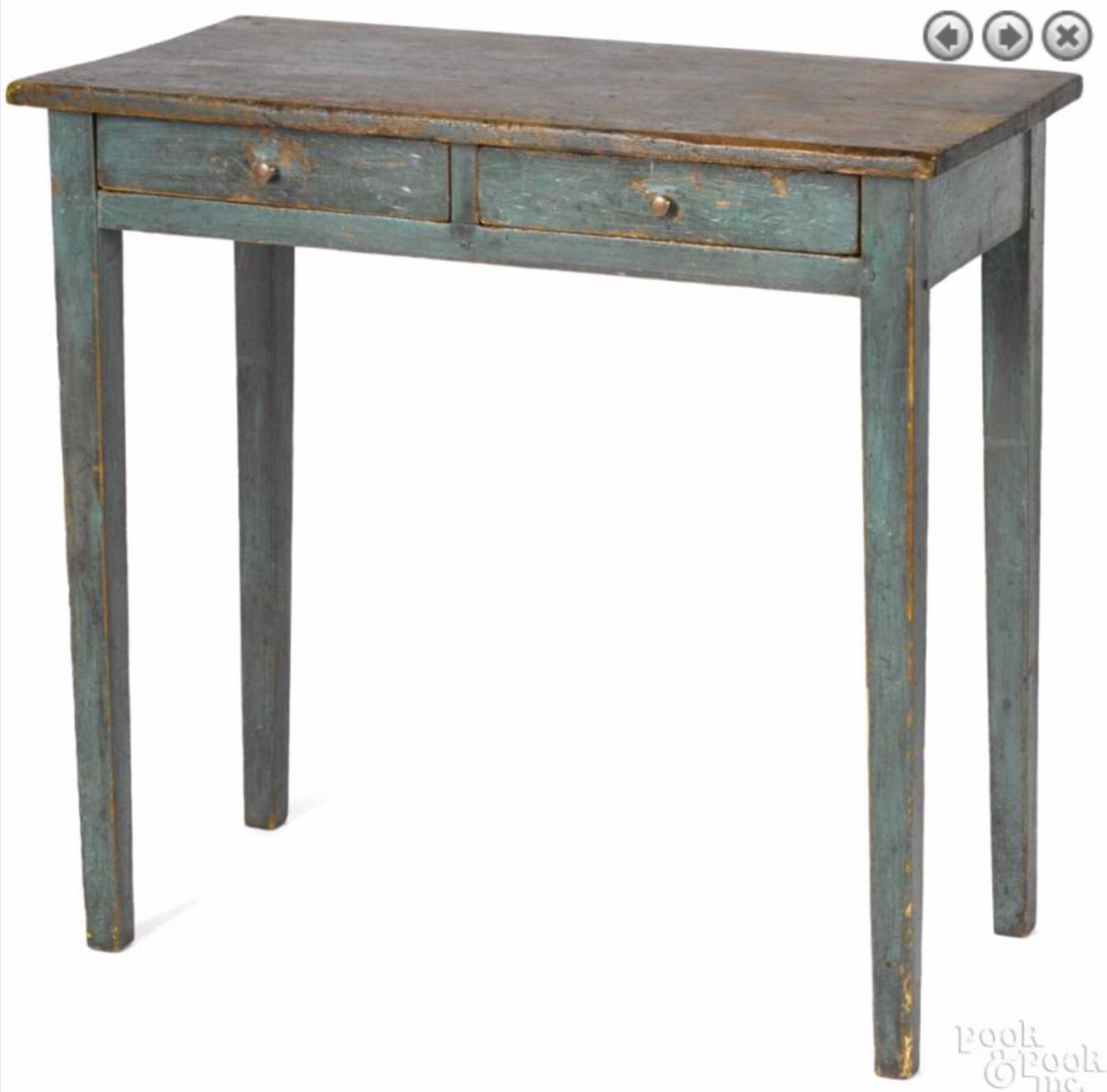 Pook & Pook 1/16/16 Lot: 529.  Estimated: $400 - $800.  Realized Price: $1,968.  Description: Painted pine work table, 19th c., retaining an old blue surface, 29 1/2'' h., 31 1/2'' w., 16'' d. Provenance: The Estate of Mark and Joan Eaby, Brownstown, Lancaster County, Pennsylvania.  Condition: Overall good condition. Expected wear. Paint is old but not original.