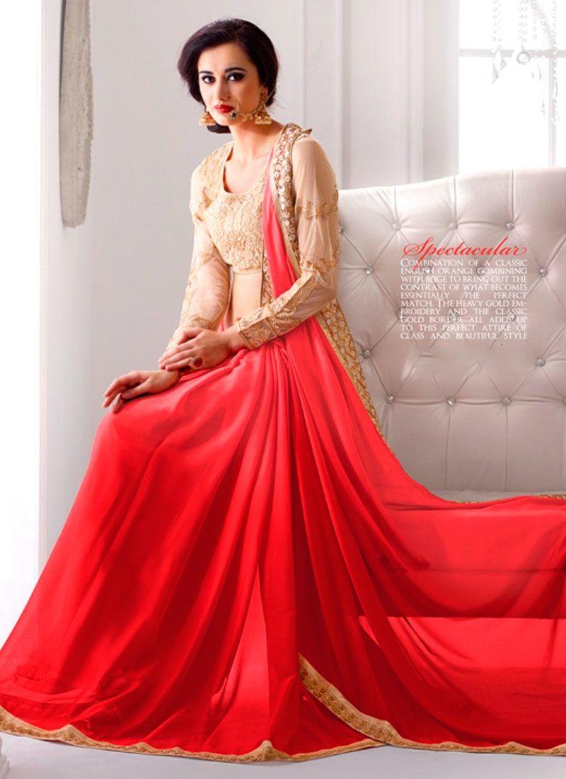 Superb Orange Party Wear Saree Party Wear Sarees Party Wear Glamorous Dresses