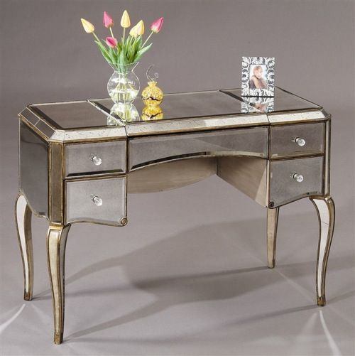 Collette Mirrored Vintage-Inspired Vanity Table from IVG For the