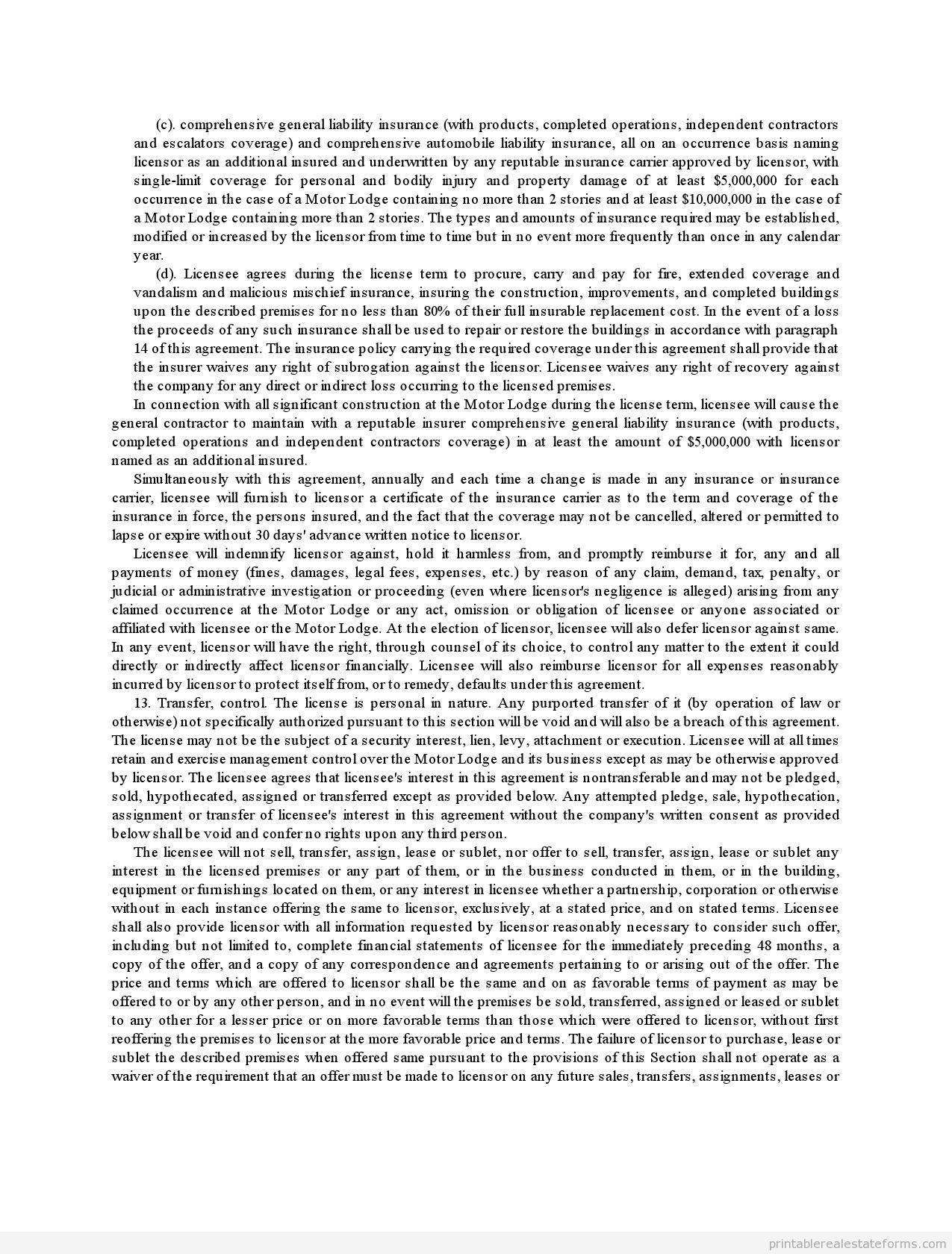 Sample Printable motor lodge license and franchise agreement Form ...