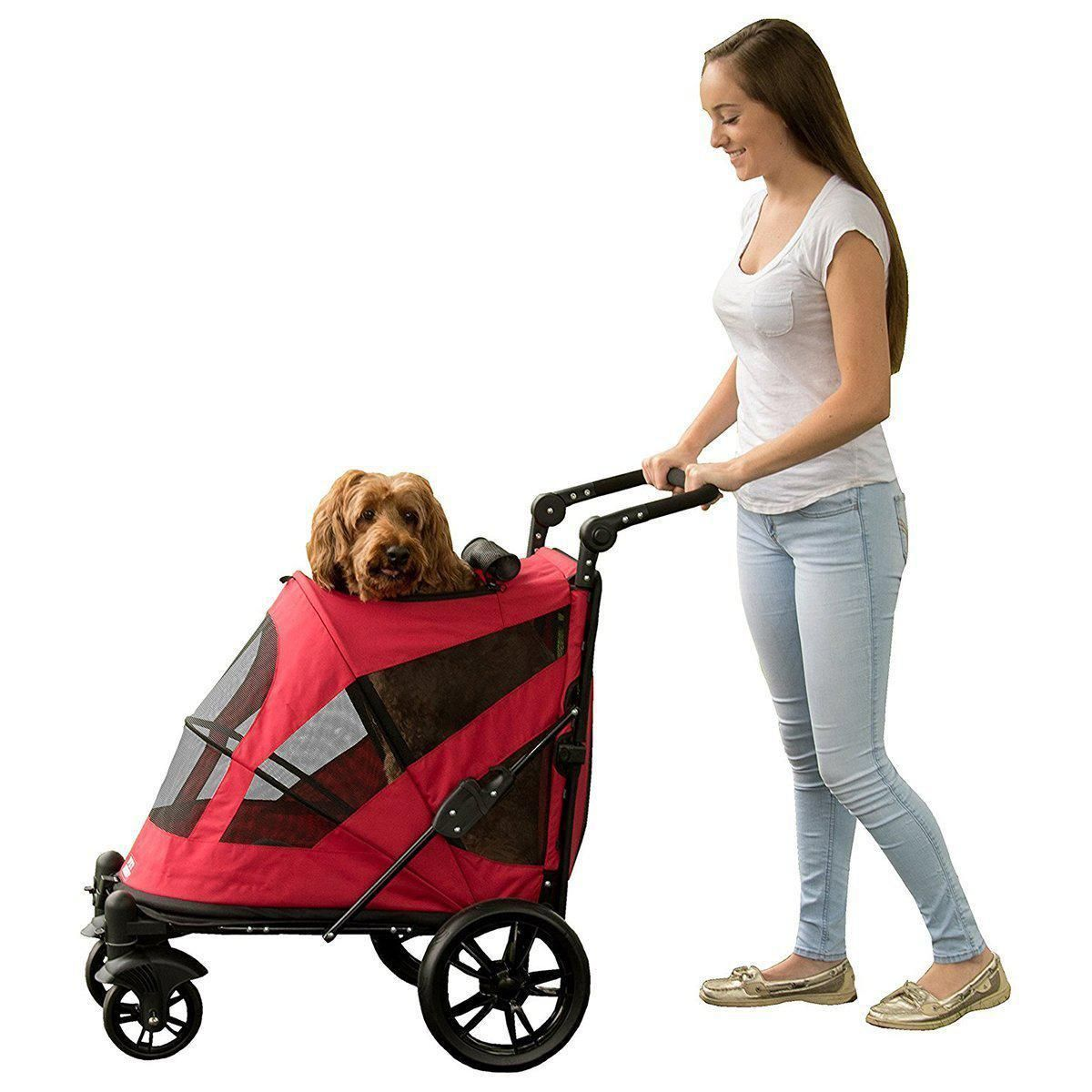 NoZip Excursion Dog Stroller Candy Red Pet stroller